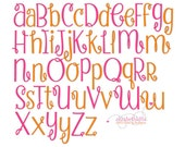 """BX FORMAT- Sizes 1"""",1,50"""",  2"""" - Instant Download - Strawberry Whipped Cream  -  Embroidery Font Design 260"""