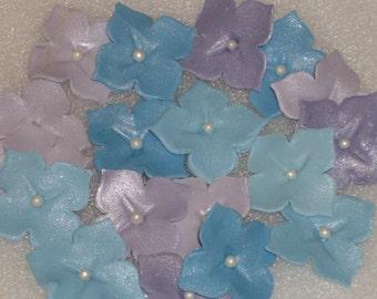 50 Edible Gum Paste Hydrangea Single Flowers
