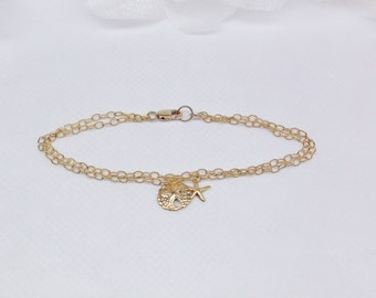 Gold Sand Dollar Bracelet Gold Starfish Bracelet Gold Beach Jewelry 14k Gold Chain Bracelet Summer Bracelet Gold Filled Bracelet Buy3+1 Free