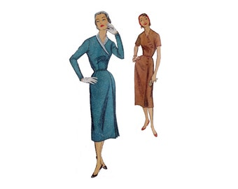 50s Dress, Pattern, Simplicity 1724, Asymmetrical Dress, Vintage Pattern, Size: 18 1/2, Plus Size Clothes, 50s Suit, Shirtwaist