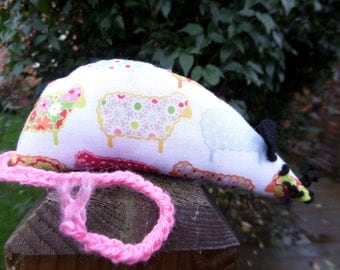 Catnip Mouse -  Pink & White Sheep design - Made with Extra Strong Catnip