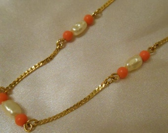 Avon Sea Treasures choker/necklace with faux biwa pearls and coral beads