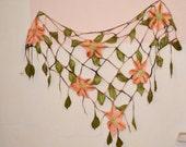 Triangle felt shawl, Grid felted scarf ,Mesh scarf , floral scarf, Felted scarf,