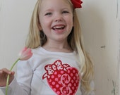 Valentine's Day shirt or infant bodysuit. Red and pink heart with bow and monogram. Monogrammed Valentine Shirt. Be my Valentine Sweetheart.