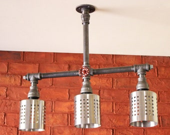 Industrial chandelier ceiling light edison bulb by hanormanor for Black pipe light fixture