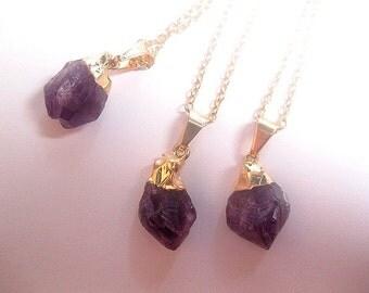 Amethyst Point Necklace - Raw Amethyst - Amethyst Pendant - Purple Crystal - Crystal Quartz - February Birthstone - Healing Crystal
