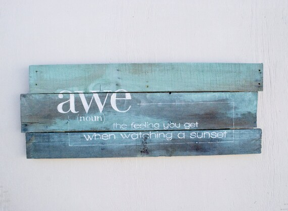 Items Similar To Pallet Art Definition Awe Home Wall