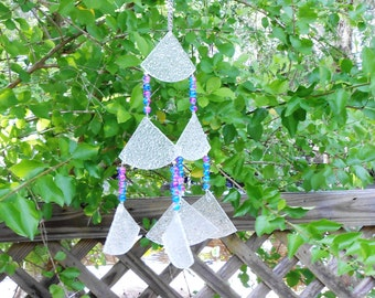 Stained Glass Windchimes, Glass Wind Chime, Yard Art, Garden Decor, Wind Spinner, Recycled Home Decor, Window Art, OOAK Windchatcher