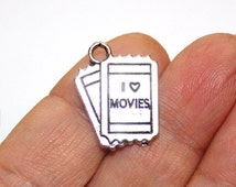 2 Movie Tickets Charms Antique Silver Tone - CH128