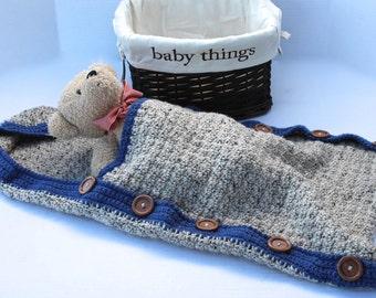 Brown Tweed Baby Boy Hooded Sleep Sack - Baby Swaddle