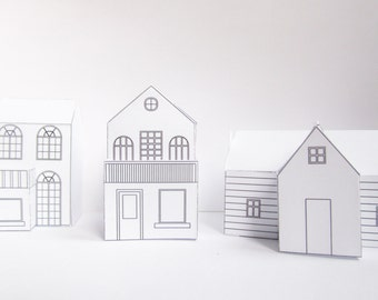 Three DIY paper houses, ready design templates to print, cute christmas decoration!, create your own village