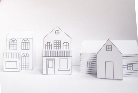 drei diy papier h user bereit design vorlagen zu drucken. Black Bedroom Furniture Sets. Home Design Ideas