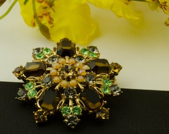 Vintage Smoke Green Brown Rhinestone Domed Brooch