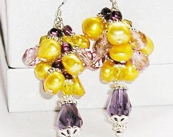 Sterling Silver Pearl Earrings Purple Cluster Earrings Purple Crystals & Yellow Pearls Ladies Jewelry Donna Lea Jewelry on Etsy