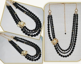 Out of Stock, Black Bridal Necklace, Multi-strand Black Swarovski Pearl Necklace, Multi Strand Necklace, Mystic Black Crystal Pearl Necklace