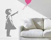 Banksy style Balloon Girl stencil for walls and home decor from The Stencil Studio. Reusable Graffiti style decorative wall stencil for DIY