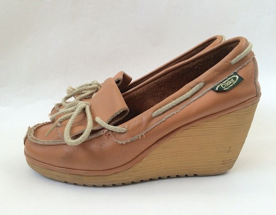 vintage leather fringe wedge shoes 9