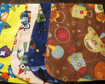 "5 pack ""robots and rockets""  burp cloths for boys"