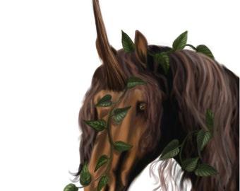 Fantasy Art Print - Unicorn Art - Brown Unicorn Art - Brown Horse - Ivy Painting - Fantasy Art - Horse Art Print - Friesian Horse - Animal
