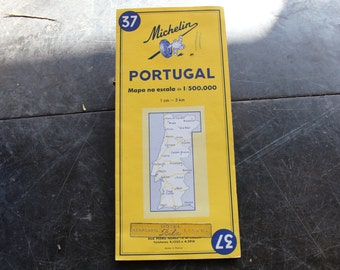 Portugal Map Etsy - Portugal map michelin