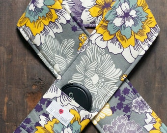 DSLR Camera Strap Cover- lens cap pocket and padding included- Purple, Yellow and Gray Floral