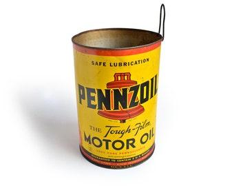 mid century tin, pennzoil tin, LARGE 5 quart size, automotive accessories, automotive decor