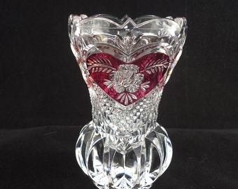 Vintage Crystal Enesco German Vase, Red Rose Enesco Bud Vase, Crystal Small Bud Vase