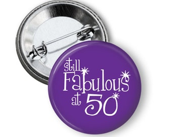 Fabulous 50 purple birthday pinback button badge