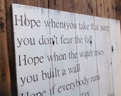I Lived by One Republic. Song lyrics painted on reclaimed wood.