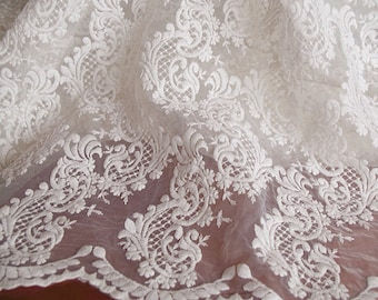 off white lace fabric, embroidered organza lace fabric, retro floral pattern lace fabric
