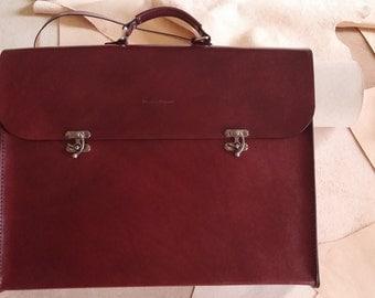 Portfolio Brief Case - Messenger Bag Genuine Leather Handmade  Xtra Large (Polar Bear)