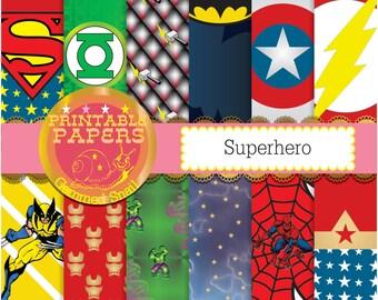 Superhero digital paper 12 superheros plus a free word paper kapow! xmen, avengers