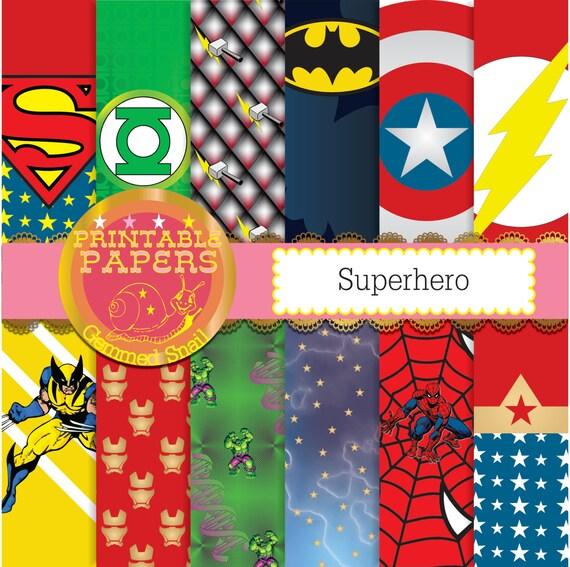 Superhero digital paper 12 superheros plus a free by ...