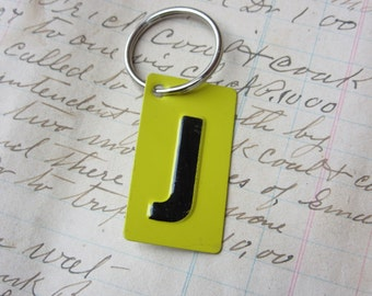 Vintage Metal Letter J Sign Name Initial J Keychain Letter Tag Industrial Sign Black & Yellow Metal Sign Key Chain Fob vtg Upcycled Key Tag