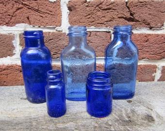 D Blue Bottles Collection 5 Antique Cobalt Blue Bottles Old Bottles Lot For Wedding Table Vases or Rustic Farm Country Display Old Fashion