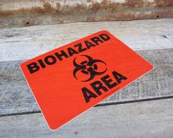 Biohazard Sticker Red Black Vintage Industrial 1990s Era Plastic Sticker Warehouse