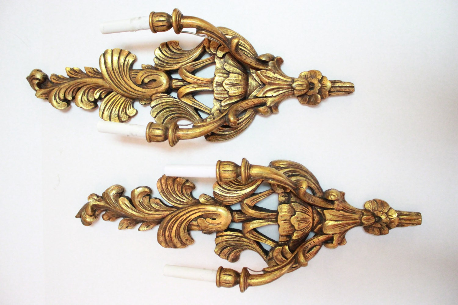 Pair Gold Tone Hand Carved Wood Sconces
