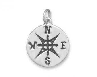 Oxidized Compass Pendant - 925 Sterling Silver