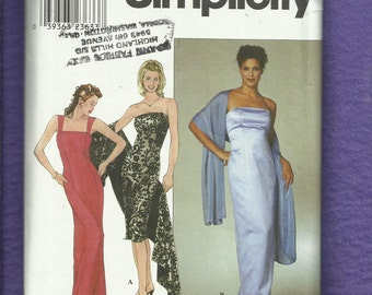 Simplicity 9028 Figure Flattering Strapless Evening Dress with Long Lean Princess Seams  Size 16 to 22
