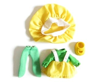 Lucy Lemon Outfit Vintage Lanard Jelly Bean Doll Yellow Baker's Hat, Dress, Green Tights Single Shoe