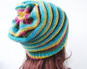 knit slouchy hat, womens striped beanie , turquoise, yellow, pink, green