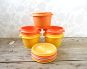 Tupperware Container Lot, Fall Harvest Bowls, Stackable storage solution, yellow orange