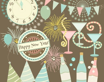 New Years Clipart, Retro Clipart, new years eve, Instant download, new year clipart