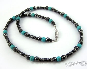 Hematite turquoise mens necklace, hematite necklace, turquoise necklace, necklace for man, mens jewelry gift, mens beaded necklace for men