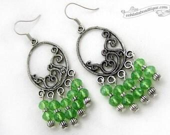 Green crystal chandelier earrings, Boho earrings, green birthstone jewelry, Gypsy earrings, green dangles, birtstone earrings, long earrings