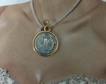 """St. Benedict   two tone horizontal 18k gold laminated 0.5"""" or 1.5cm, religious pendant, religious medal, San Benedicto medallita"""