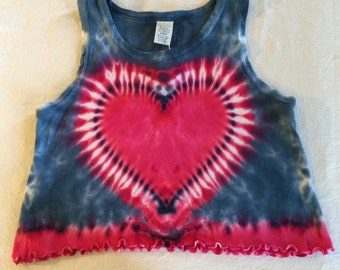 5/6T Toddler Heart Tie Dye Ruffle Tank Top