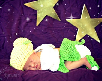 Crochet Disney's Tinkerbell Outfit (beanie/hat, diaper cover, fairy wings and booties)