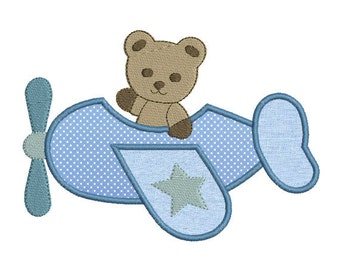 Instant download Plane Bear applique embroidery design machine