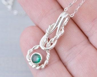 Infinity Knot Pendant - Birthstone Jewelry - Gemstone Pendant - Reef Knot Jewelry - Infinity Knot Jewelry - Infinity Pendant